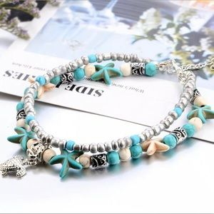 Starfish Turquoise Beaded Turtle Ankle Bracelet